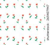 watercolor doodle tulips...   Shutterstock .eps vector #265407947