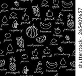 fruit doodles seamless vector... | Shutterstock .eps vector #265409657