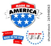 made in america shield and made ... | Shutterstock .eps vector #265448063