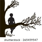 Boy Sitting On Big Tree Branch...
