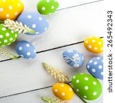 vintage colorful easter eggs on ...   Shutterstock . vector #265492343