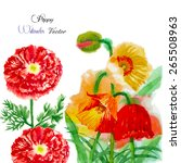 watercolor background with red... | Shutterstock .eps vector #265508963