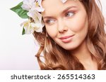 beautiful girl with natural... | Shutterstock . vector #265514363