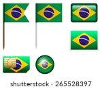 brazil flag set on a white... | Shutterstock .eps vector #265528397