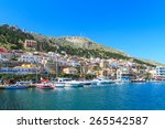 a view of a port in kalymnos...   Shutterstock . vector #265542587