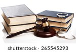 gavel  books and handcuffs on