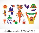 brazil. collection of icons and ... | Shutterstock .eps vector #265560797