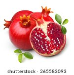 pomegranate isolated on white... | Shutterstock . vector #265583093
