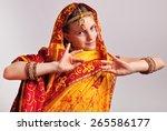 studio portrait of little girl... | Shutterstock . vector #265586177
