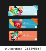 set of banners with stickers ... | Shutterstock .eps vector #265595567