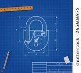 blueprint drawing padlock.... | Shutterstock .eps vector #265606973