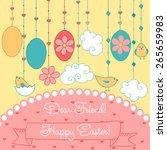 raster happy easter  card for... | Shutterstock . vector #265659983