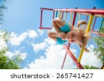 low angle view of cute blond...   Shutterstock . vector #265741427