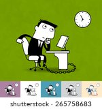 working time and office slave.... | Shutterstock .eps vector #265758683