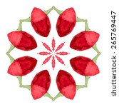 watercolor red flower mandala.... | Shutterstock .eps vector #265769447