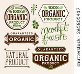 set of organic and farm fresh... | Shutterstock .eps vector #265805417
