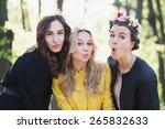 three girls posing for the...   Shutterstock . vector #265832633