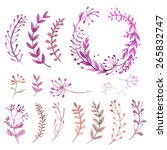set of flowers painted in... | Shutterstock .eps vector #265832747