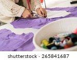 woman hands cut with scissors... | Shutterstock . vector #265841687