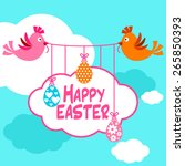 happy easter background with... | Shutterstock .eps vector #265850393