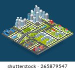 isometric city with 3d houses...