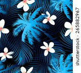 tropical palm seamless pattern... | Shutterstock .eps vector #265882967