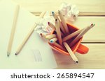 top view of colorful pencils in ...   Shutterstock . vector #265894547