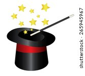 magic hat with wand and stars   Shutterstock . vector #265945967