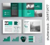 checkered green brochure... | Shutterstock .eps vector #265971977