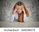 evil men pointing at stressed...   Shutterstock . vector #266038373