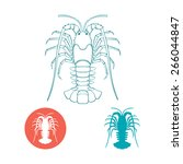 crayfish silhouette and flat... | Shutterstock .eps vector #266044847