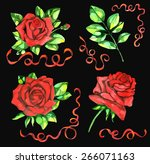 design set with red roses and... | Shutterstock .eps vector #266071163