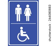 toilet sign with blue... | Shutterstock .eps vector #266080883