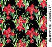 poinsettia  pattern seamless ... | Shutterstock . vector #266083157