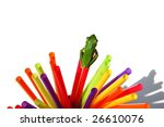 Green Frog On Colorful Straws