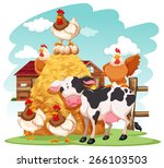 group of domestic animals in a... | Shutterstock .eps vector #266103503