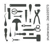gray leather working tools... | Shutterstock .eps vector #266105573