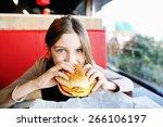 cute little  girl in school... | Shutterstock . vector #266106197