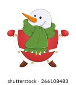 happy snowman face with snowman ... | Shutterstock .eps vector #266108483