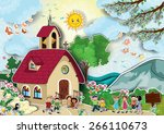 country church with steeple... | Shutterstock . vector #266110673