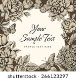floral frame with butterflies... | Shutterstock .eps vector #266123297