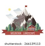 house in mountains. colorful... | Shutterstock .eps vector #266139113
