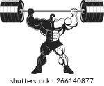 bodybuilder with a barbell | Shutterstock .eps vector #266140877
