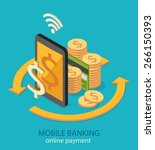 mobile banking and online... | Shutterstock .eps vector #266150393