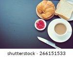 breakfast on blackboard with... | Shutterstock . vector #266151533