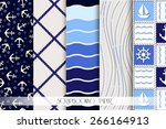 nautical sea design elements  ... | Shutterstock .eps vector #266164913