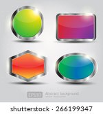 set glossy download button ... | Shutterstock .eps vector #266199347