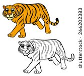 illustration of tiger. coloring ... | Shutterstock .eps vector #266202383