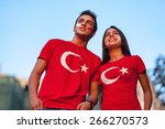 Couple Wearing Turkish Flag T...