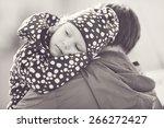 a little daughter on the ... | Shutterstock . vector #266272427
